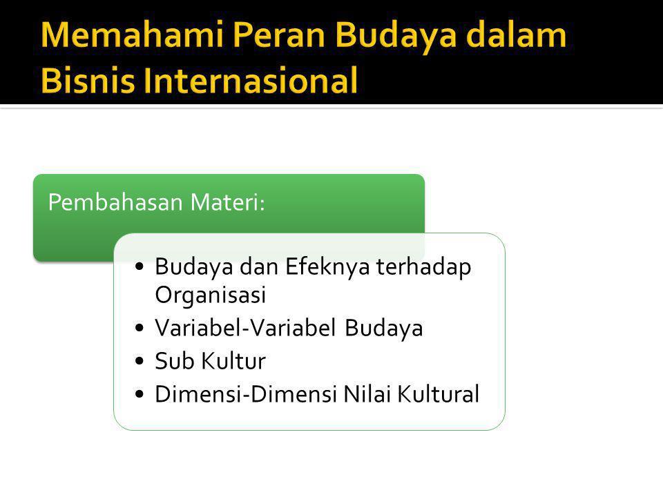 Pembahasan Materi: Budaya dan Efeknya terhadap Organisasi Variabel-Variabel Budaya Sub Kultur Dimensi-Dimensi Nilai Kultural
