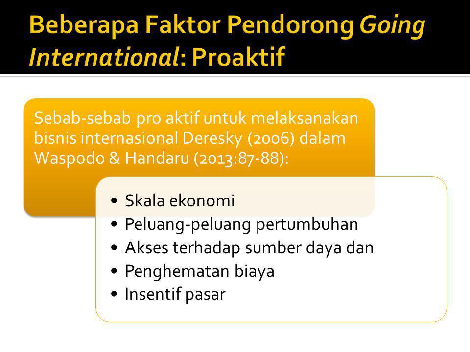 Sebab-sebab pro aktif untuk melaksanakan bisnis internasional Deresky (2006) dalam Waspodo & Handaru (2013:87-88): Skala ekonomi Peluang-peluang pertu