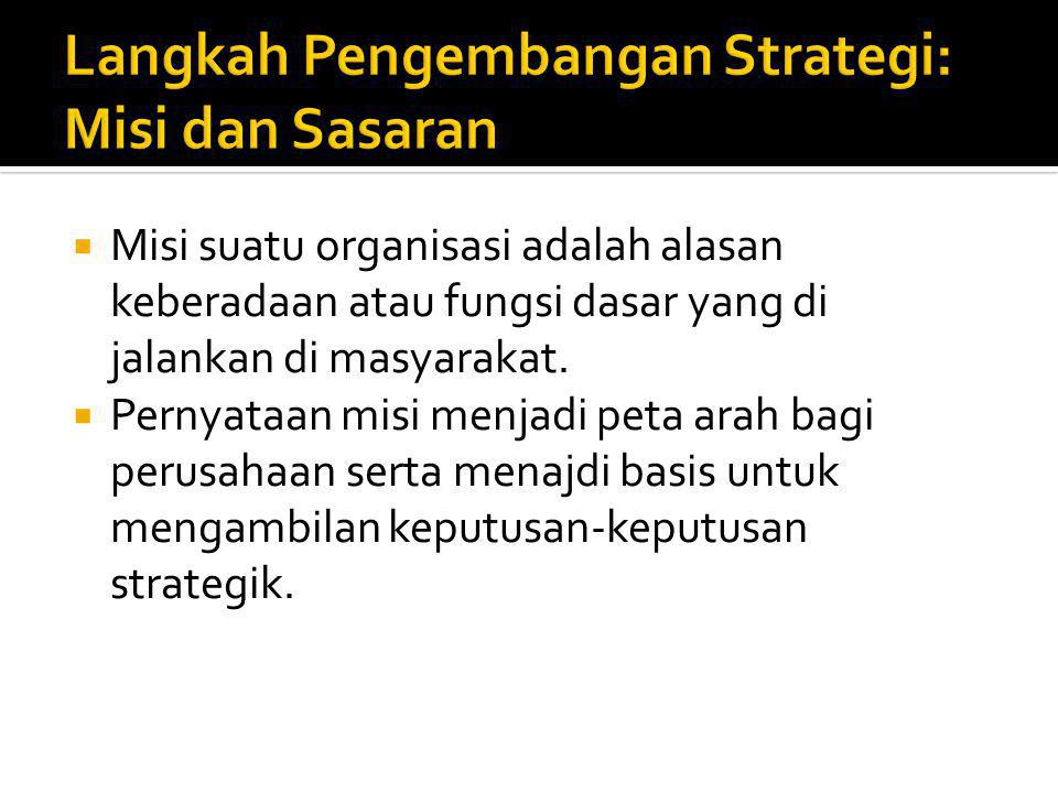  Misi suatu organisasi adalah alasan keberadaan atau fungsi dasar yang di jalankan di masyarakat.  Pernyataan misi menjadi peta arah bagi perusahaan