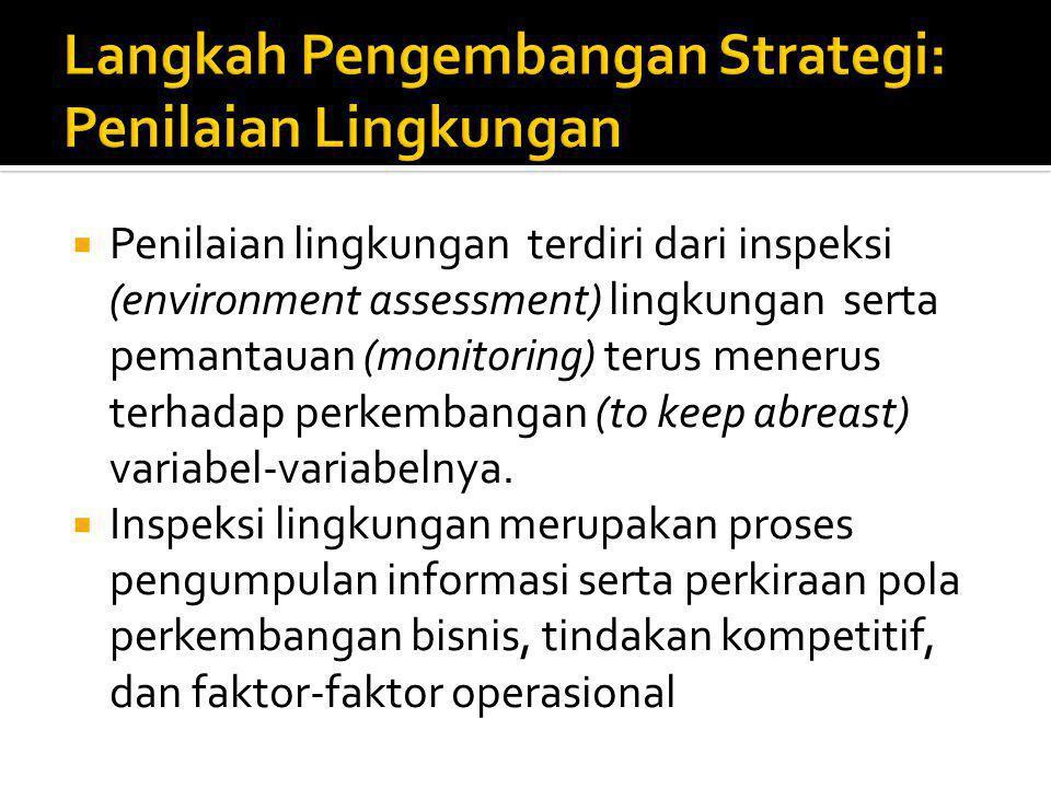  Penilaian lingkungan terdiri dari inspeksi (environment assessment) lingkungan serta pemantauan (monitoring) terus menerus terhadap perkembangan (to