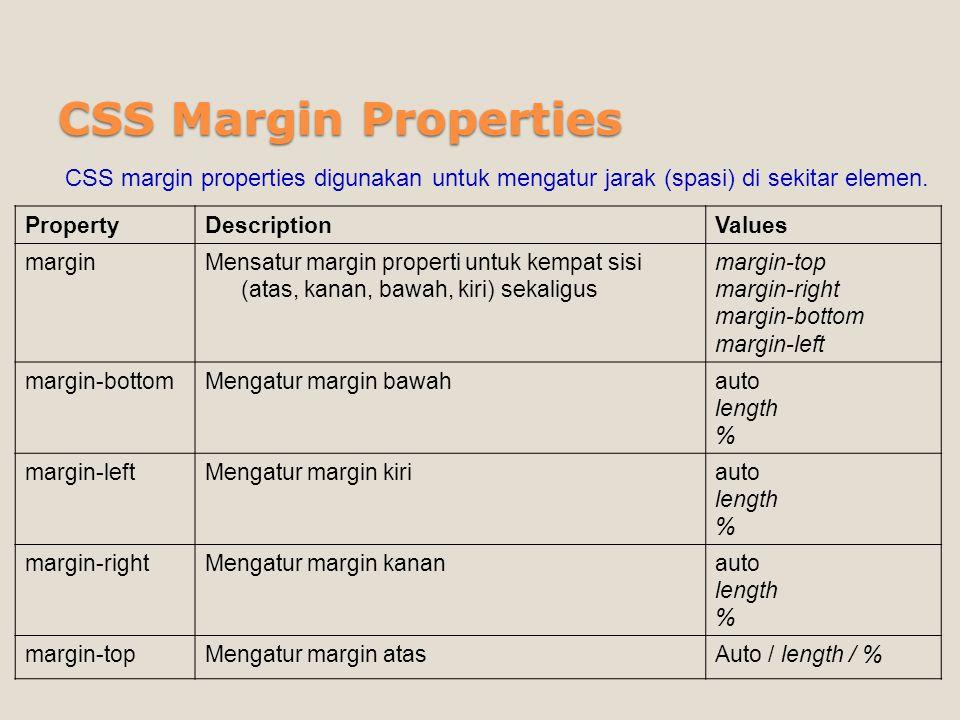 CSS Margin Properties PropertyDescriptionValues marginMensatur margin properti untuk kempat sisi (atas, kanan, bawah, kiri) sekaligus margin-top margi