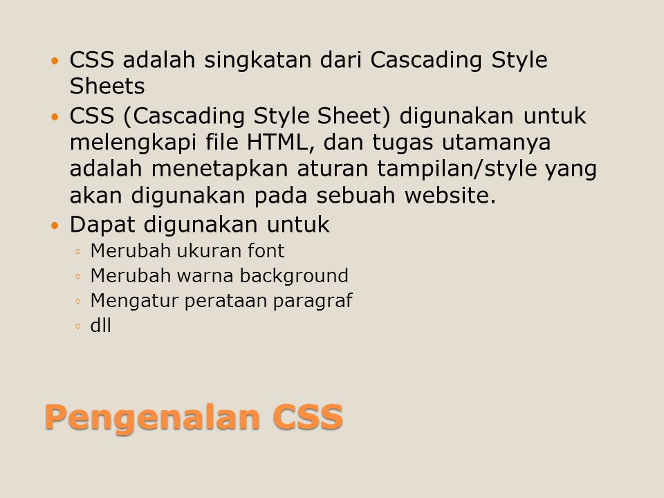 Menambahkan CSS ke dalam HTML 1.