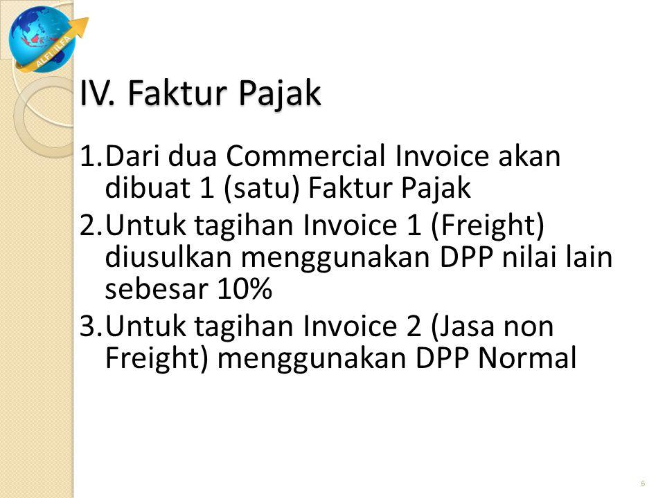 IV. Faktur Pajak 1.Dari dua Commercial Invoice akan dibuat 1 (satu) Faktur Pajak 2.Untuk tagihan Invoice 1 (Freight) diusulkan menggunakan DPP nilai l