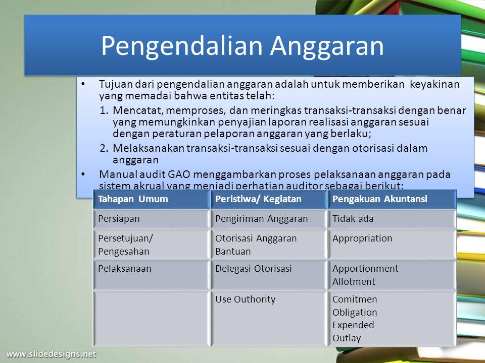 Pengendalian Anggaran Tujuan dari pengendalian anggaran adalah untuk memberikan keyakinan yang memadai bahwa entitas telah: 1.Mencatat, memproses, dan