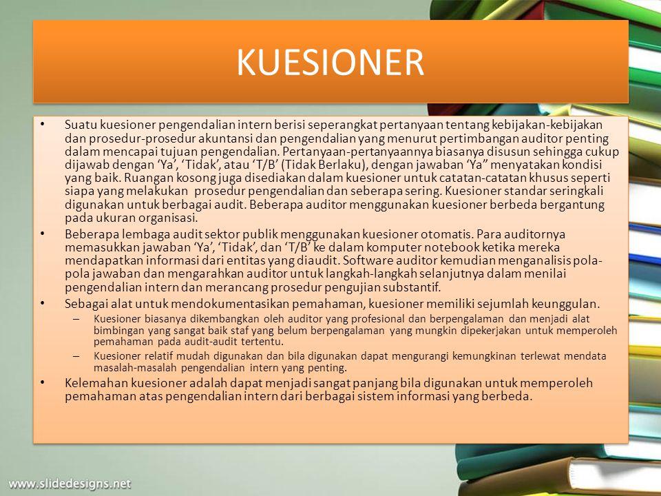 KUESIONER Suatu kuesioner pengendalian intern berisi seperangkat pertanyaan tentang kebijakan-kebijakan dan prosedur-prosedur akuntansi dan pengendali