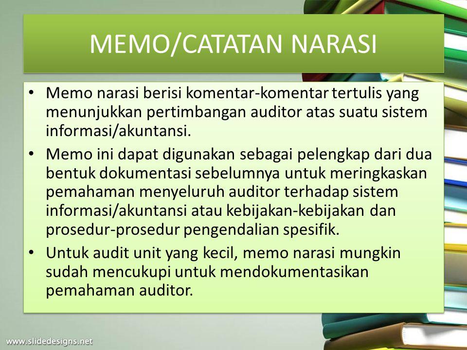 MEMO/CATATAN NARASI Memo narasi berisi komentar-komentar tertulis yang menunjukkan pertimbangan auditor atas suatu sistem informasi/akuntansi. Memo in