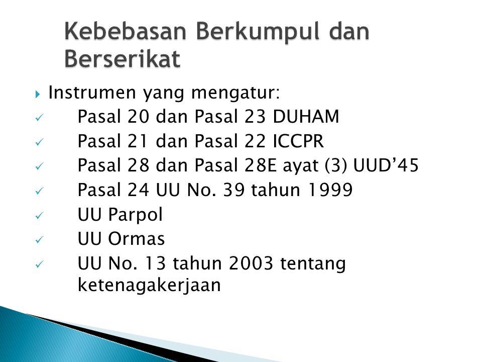 Kebebasan Berkumpul dan Berserikat  Instrumen yang mengatur: Pasal 20 dan Pasal 23 DUHAM Pasal 21 dan Pasal 22 ICCPR Pasal 28 dan Pasal 28E ayat (3)