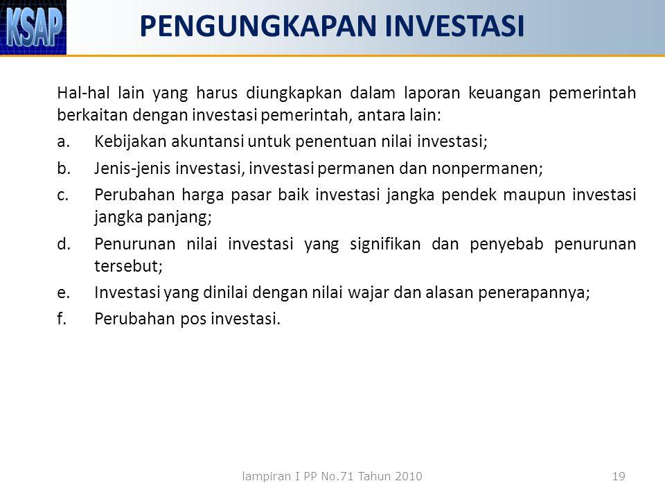 PENGUNGKAPAN INVESTASI Hal-hal lain yang harus diungkapkan dalam laporan keuangan pemerintah berkaitan dengan investasi pemerintah, antara lain: a.Kebijakan akuntansi untuk penentuan nilai investasi; b.Jenis-jenis investasi, investasi permanen dan nonpermanen; c.Perubahan harga pasar baik investasi jangka pendek maupun investasi jangka panjang; d.Penurunan nilai investasi yang signifikan dan penyebab penurunan tersebut; e.Investasi yang dinilai dengan nilai wajar dan alasan penerapannya; f.Perubahan pos investasi.