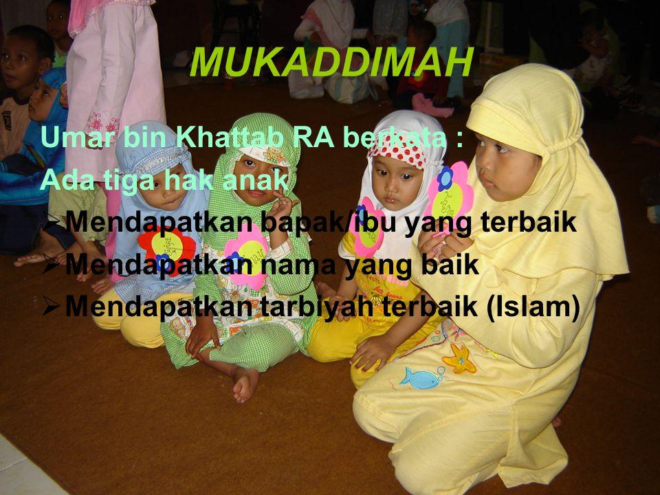MENDIDIK ANAK DALAM ISLAM Oleh M S SUPARMADI, ST