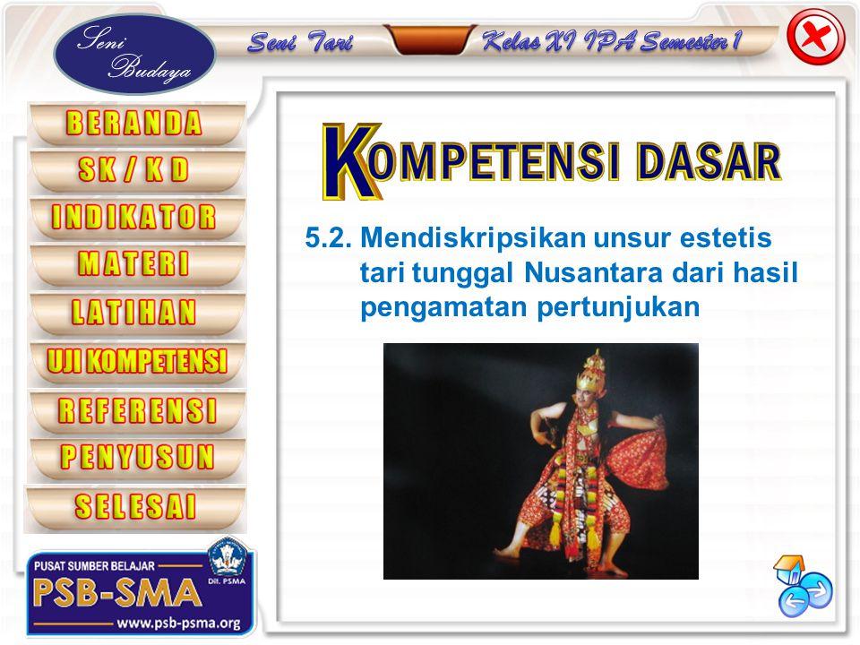 Seni Budaya 5.2. Mendiskripsikan unsur estetis tari tunggal Nusantara dari hasil pengamatan pertunjukan
