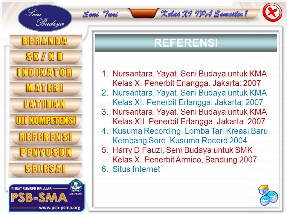 Seni Budaya 1.Nursantara, Yayat. Seni Budaya untuk KMA Kelas X. Penerbit Erlangga. Jakarta: 2007 2.Nursantara, Yayat. Seni Budaya untuk KMA Kelas XI.