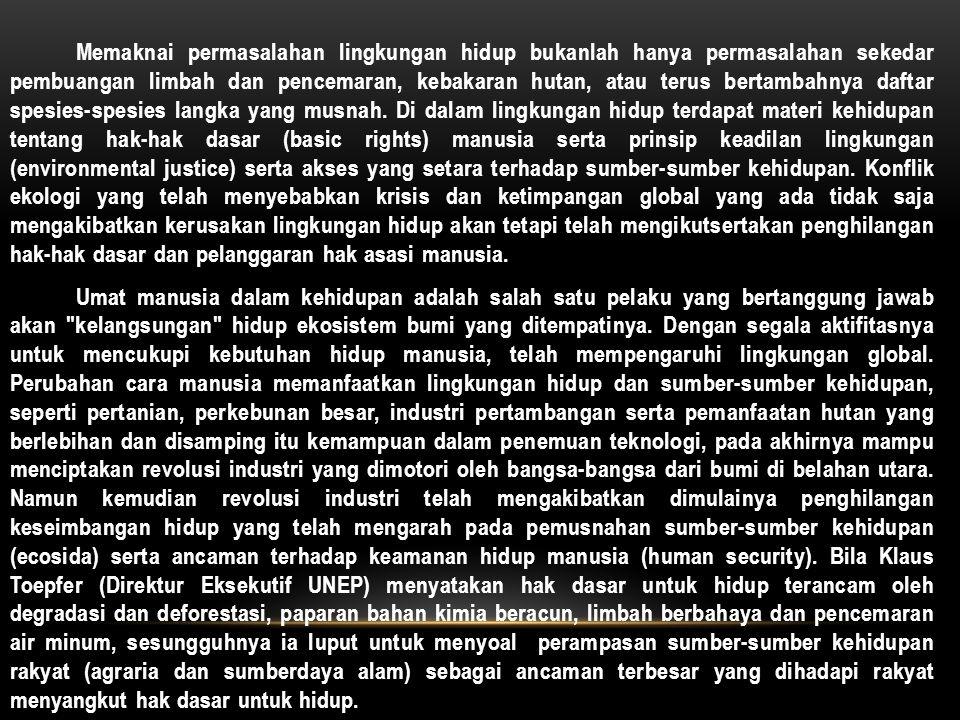 Walaupun belum ada Deklarasi atau Konvenan khusus tentang Hak Lingkungan Hidup sebagai Hak Asasi Rakyat, sesungguhnya berbagai dimensi yang menyangkut hak-hak dasar atas sumber-sumber kehidupan dan lingkungan hidup telah tercakup dalam Konvenan Hak-Hak Ekonomi-Sosial-Budaya (EKOSOB), Deklarasi Hak atas Pembangunan (belum diratifikasi oleh Pemerintah Indonesia), Agenda 21, Piagam tentang Hak-hak dan Kewajiban- kewajiban Ekonomi Negara.