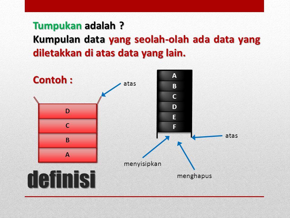 Tumpukan adalah ? Kumpulan data yang seolah-olah ada data yang diletakkan di atas data yang lain. Contoh : definisi A A B B C C D D atas A A B B C C D
