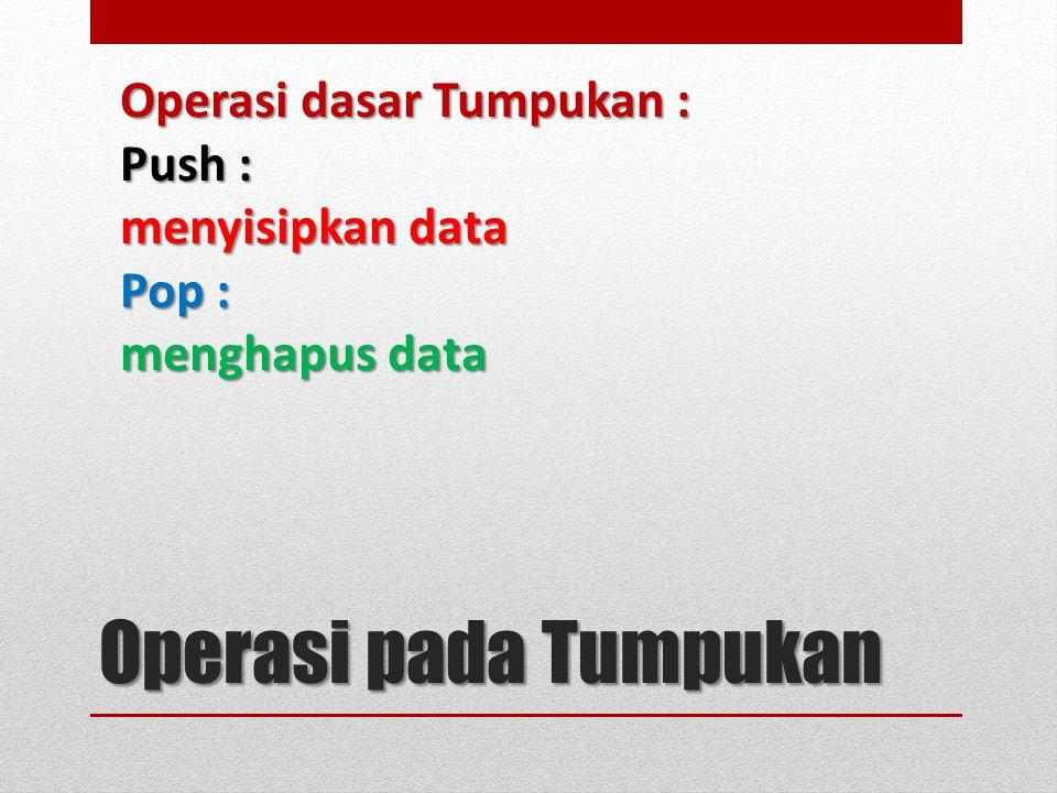 Operasi dasar Tumpukan : Push : menyisipkan data Pop : menghapus data Operasi pada Tumpukan