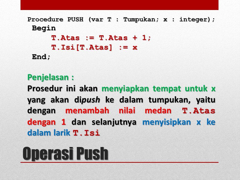 Procedure PUSH (var T : Tumpukan; x : integer); Begin Begin T.Atas := T.Atas + 1; T.Isi[T.Atas] := x End; End; Penjelasan : Prosedur ini akan menyiapk