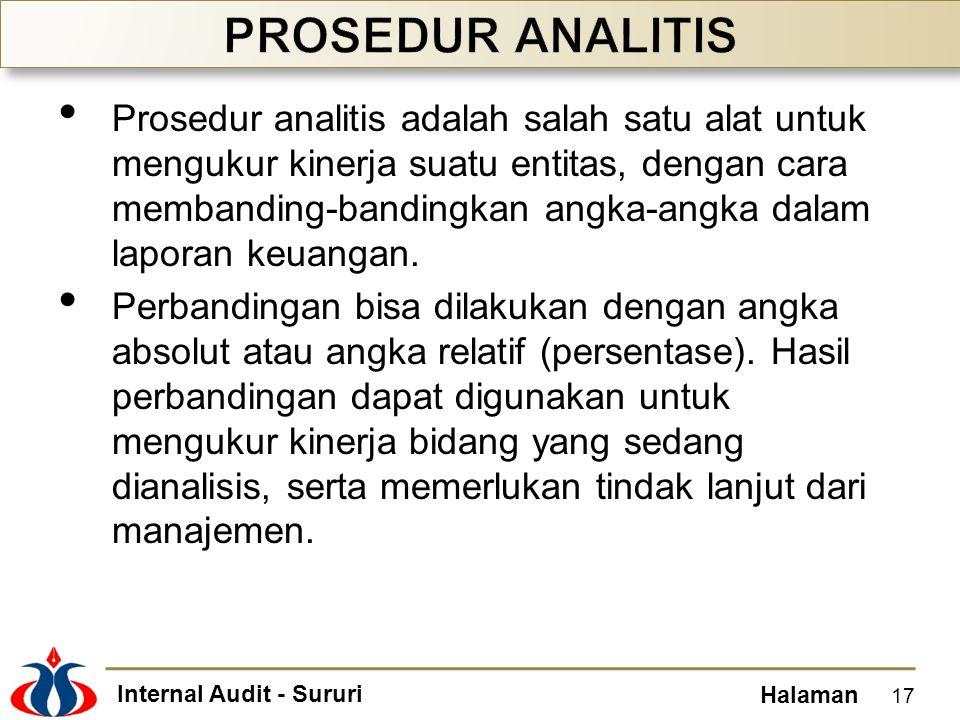 Internal Audit - Sururi Halaman Prosedur analitis adalah salah satu alat untuk mengukur kinerja suatu entitas, dengan cara membanding-bandingkan angka