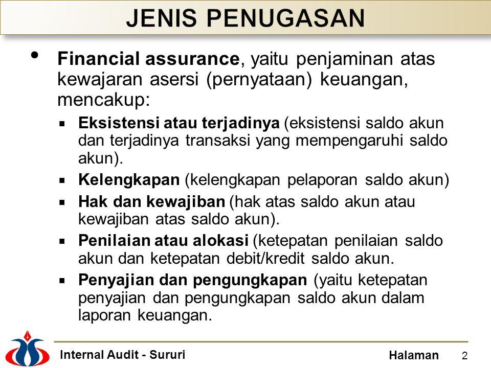 Internal Audit - Sururi Halaman Financial assurance, yaitu penjaminan atas kewajaran asersi (pernyataan) keuangan, mencakup:  Eksistensi atau terjadi