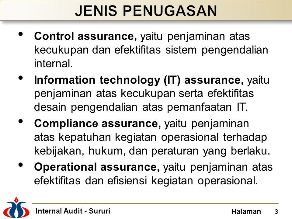 Internal Audit - Sururi Halaman Integrated assurance, yaitu penjaminan atas keandalan keseluruhan aspek pengelolaan organisasi yang berlaku dalam memastikan pencapaian tujuan organisasi.
