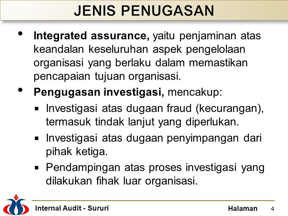 Internal Audit - Sururi Halaman Integrated assurance, yaitu penjaminan atas keandalan keseluruhan aspek pengelolaan organisasi yang berlaku dalam mema