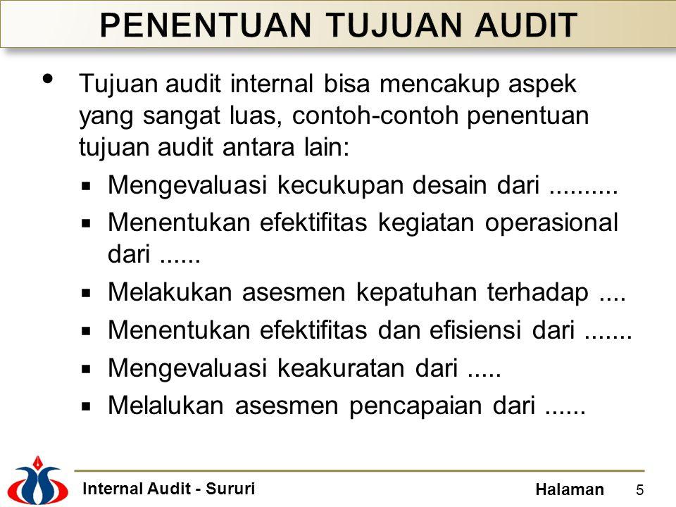 Internal Audit - Sururi Halaman Tujuan audit internal bisa mencakup aspek yang sangat luas, contoh-contoh penentuan tujuan audit antara lain:  Mengev