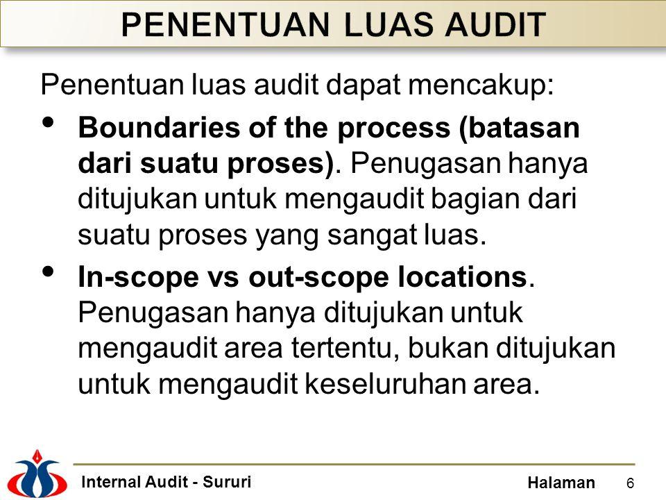 Internal Audit - Sururi Halaman Prosedur analitis adalah salah satu alat untuk mengukur kinerja suatu entitas, dengan cara membanding-bandingkan angka-angka dalam laporan keuangan.