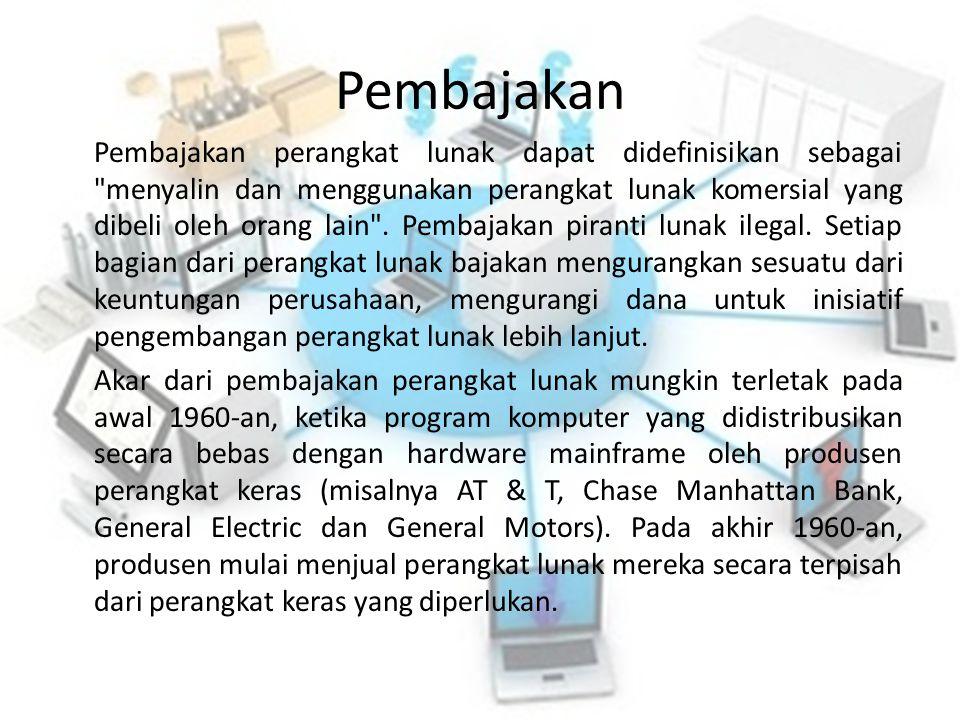 Pembajakan Pembajakan perangkat lunak dapat didefinisikan sebagai menyalin dan menggunakan perangkat lunak komersial yang dibeli oleh orang lain .