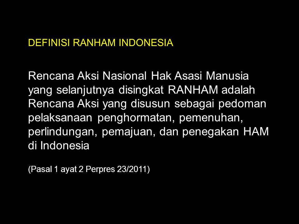 DEFINISI RANHAM INDONESIA Rencana Aksi Nasional Hak Asasi Manusia yang selanjutnya disingkat RANHAM adalah Rencana Aksi yang disusun sebagai pedoman p