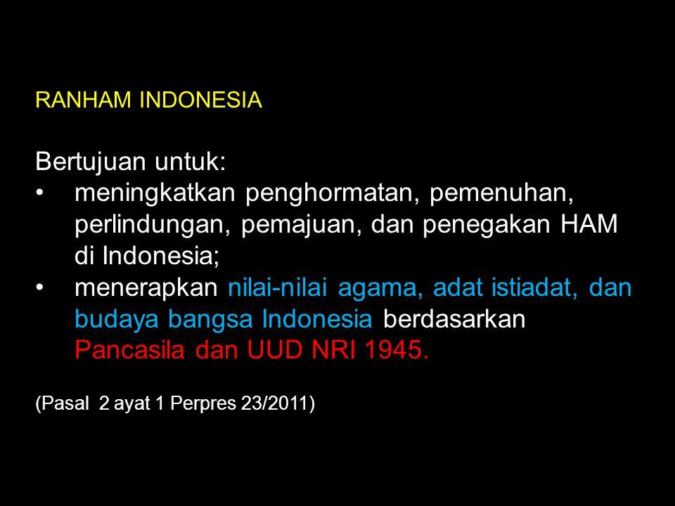 RANHAM INDONESIA Bertujuan untuk: meningkatkan penghormatan, pemenuhan, perlindungan, pemajuan, dan penegakan HAM di Indonesia; menerapkan nilai-nilai