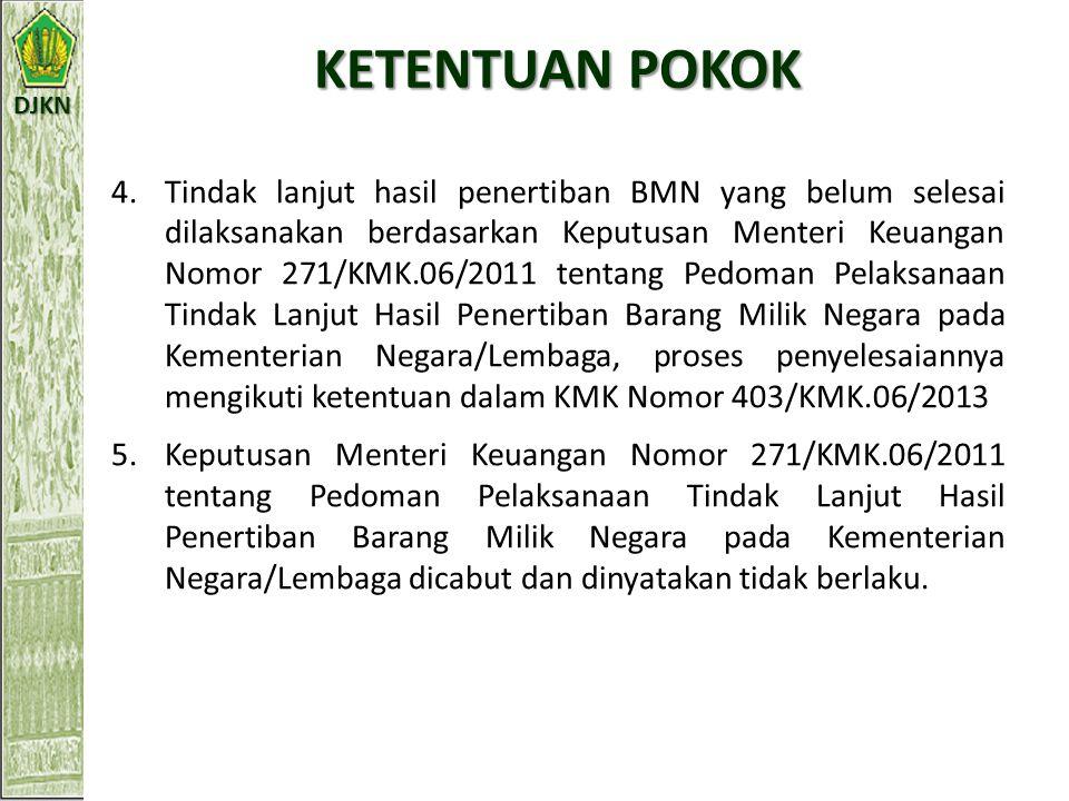 DJKN KETENTUAN POKOK Pedoman Pelaksanakan Tindak lanjut Hasil Penertiban BMN dengan ketentuan sebagai berikut: 1.Dibatasi untuk BMN yang diperoleh s.d