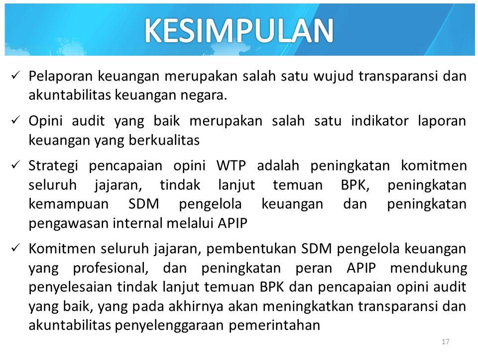 Pelaporan keuangan merupakan salah satu wujud transparansi dan akuntabilitas keuangan negara. Opini audit yang baik merupakan salah satu indikator lap