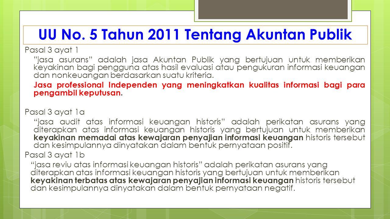 """UU No. 5 Tahun 2011 Tentang Akuntan Publik Pasal 3 ayat 1 """"jasa asurans"""" adalah jasa Akuntan Publik yang bertujuan untuk memberikan keyakinan bagi pen"""