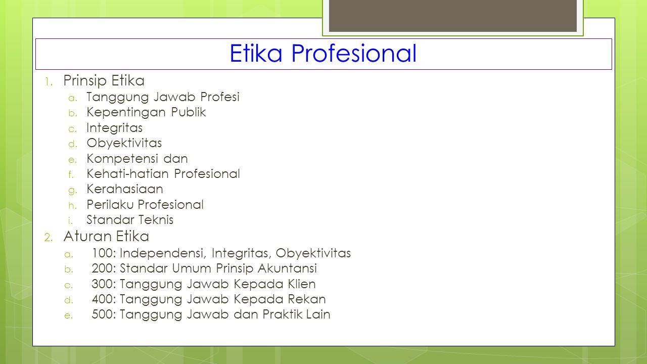 Etika Profesional 1. Prinsip Etika a. Tanggung Jawab Profesi b. Kepentingan Publik c. Integritas d. Obyektivitas e. Kompetensi dan f. Kehati-hatian Pr