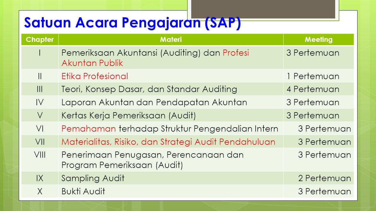 Satuan Acara Pengajaran (SAP) ChapterMateriMeeting IPemeriksaan Akuntansi (Auditing) dan Profesi Akuntan Publik 3 Pertemuan IIEtika Profesional1 Perte