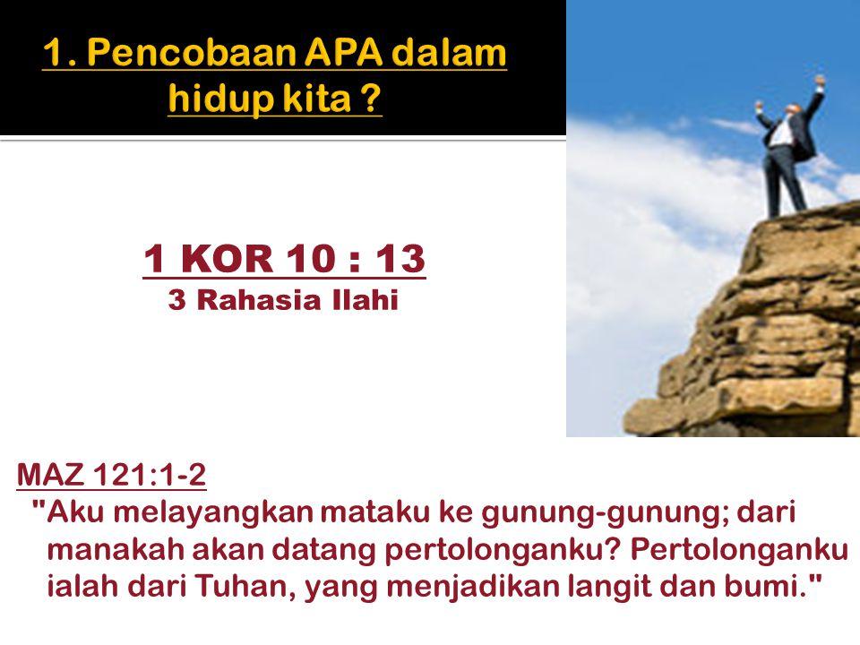 1 KOR 10 : 13 3 Rahasia Ilahi MAZ 121:1-2