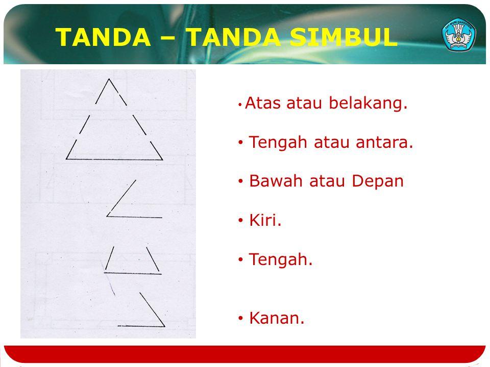 TANDA – TANDA SIMBUL Atas atau belakang. Tengah atau antara. Bawah atau Depan Kiri. Tengah. Kanan.