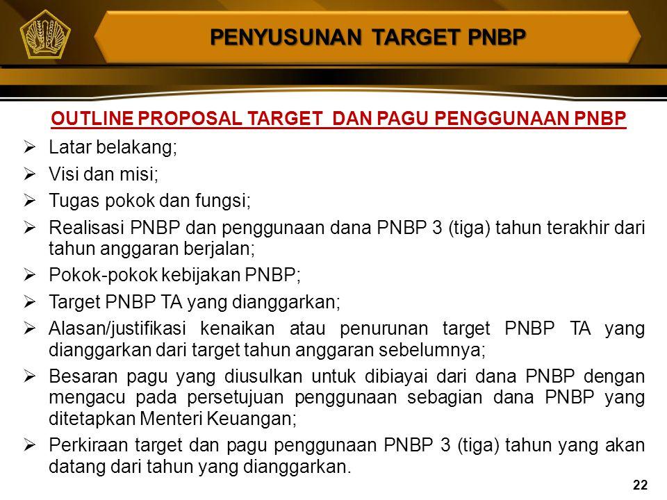 Target PNBP merupakan hasil penghitungan atau penetapan PNBP, yang diperkirakan akan diterima dalam 1 (satu) tahun yang akan datang (1 Januari s.d. 31