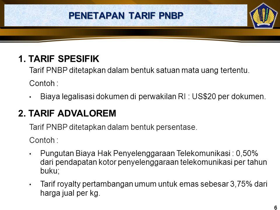 PENGATURAN UMUM JENIS DAN TARIF PNBP Penetapan tarif atas jenis PNBP mengikuti ketentuan Pasal 3 UU No. 20 Tahun 1997 tentang PNBP, yaitu :  Tarif at