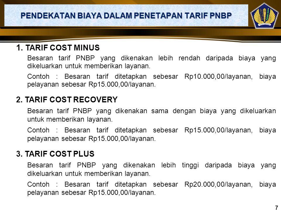 1. TARIF SPESIFIK Tarif PNBP ditetapkan dalam bentuk satuan mata uang tertentu. Contoh : Biaya legalisasi dokumen di perwakilan RI : US$20 per dokumen