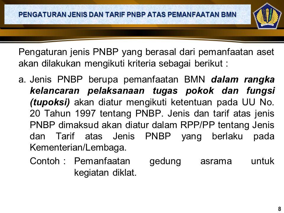 1. TARIF COST MINUS Besaran tarif PNBP yang dikenakan lebih rendah daripada biaya yang dikeluarkan untuk memberikan layanan. Contoh : Besaran tarif di