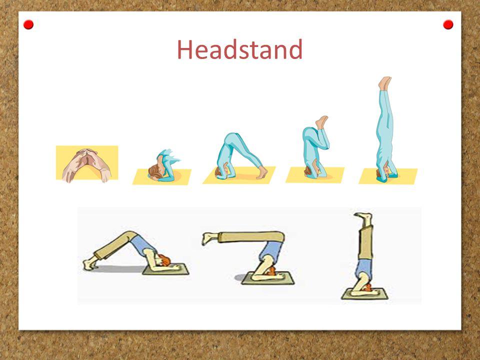 C Rangkaian Handstand Berdiri dengan kedua telapak tangan, dapat dilakukan dengan gerakan: 1.Sikap pemulaan → posisi duduk, kedua kaki rapat lurus ke depan dan kedua lengan lurus ke depan sejajar bahu.