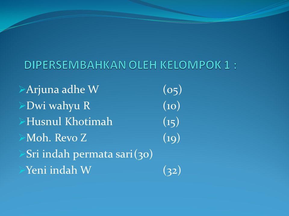  Arjuna adhe W(05)  Dwi wahyu R(10)  Husnul Khotimah(15)  Moh. Revo Z(19)  Sri indah permata sari(30)  Yeni indah W(32)