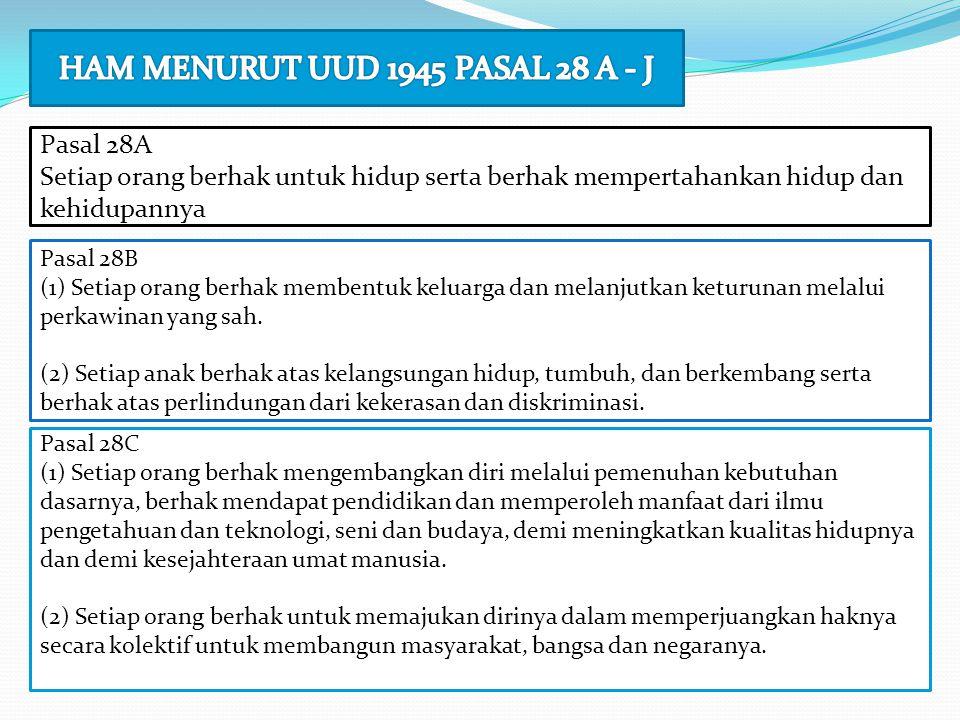Pasal 28A Setiap orang berhak untuk hidup serta berhak mempertahankan hidup dan kehidupannya Pasal 28B (1) Setiap orang berhak membentuk keluarga dan
