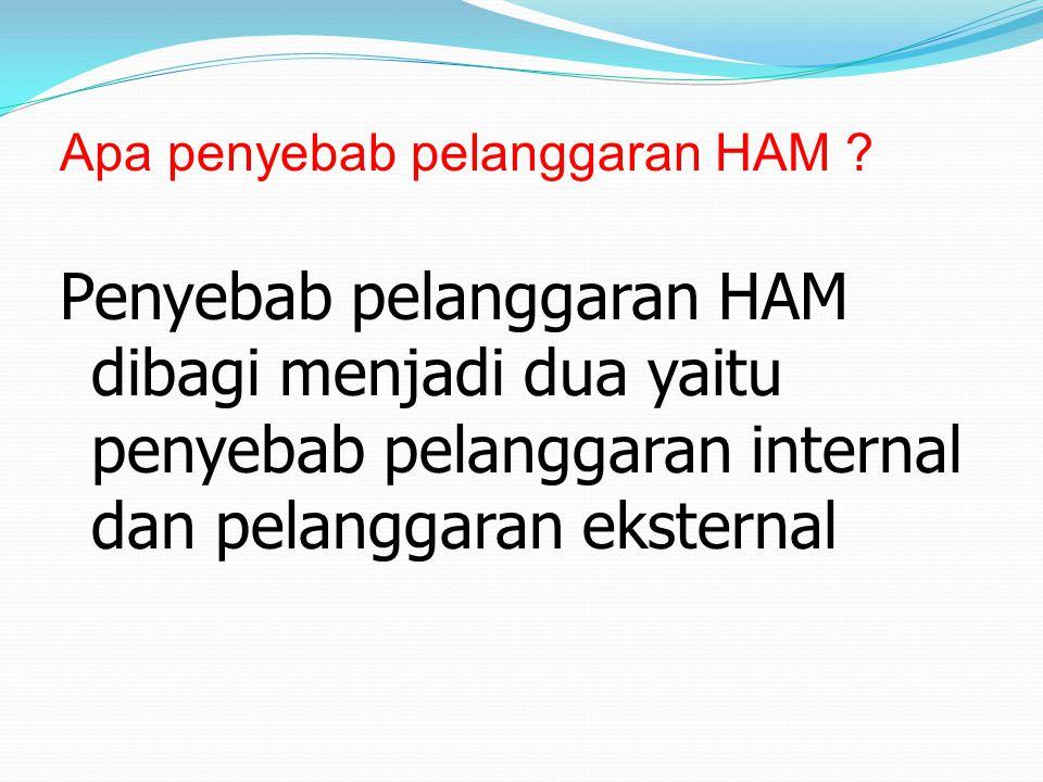 Apa penyebab pelanggaran HAM ? Penyebab pelanggaran HAM dibagi menjadi dua yaitu penyebab pelanggaran internal dan pelanggaran eksternal