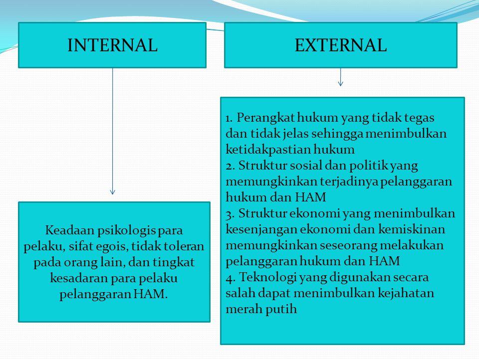 INTERNAL Keadaan psikologis para pelaku, sifat egois, tidak toleran pada orang lain, dan tingkat kesadaran para pelaku pelanggaran HAM. EXTERNAL 1. Pe