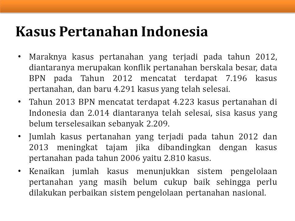 Kasus Pertanahan Indonesia Maraknya kasus pertanahan yang terjadi pada tahun 2012, diantaranya merupakan konflik pertanahan berskala besar, data BPN p