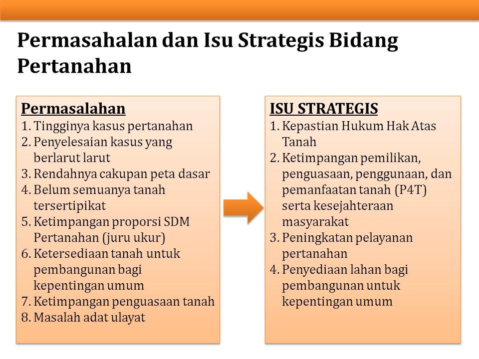Permasahalan dan Isu Strategis Bidang Pertanahan Permasalahan 1.Tingginya kasus pertanahan 2.Penyelesaian kasus yang berlarut larut 3.Rendahnya cakupa