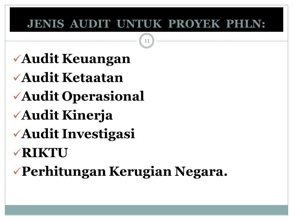 JENIS AUDIT UNTUK PROYEK PHLN: Audit Keuangan Audit Ketaatan Audit Operasional Audit Kinerja Audit Investigasi RIKTU Perhitungan Kerugian Negara. 11