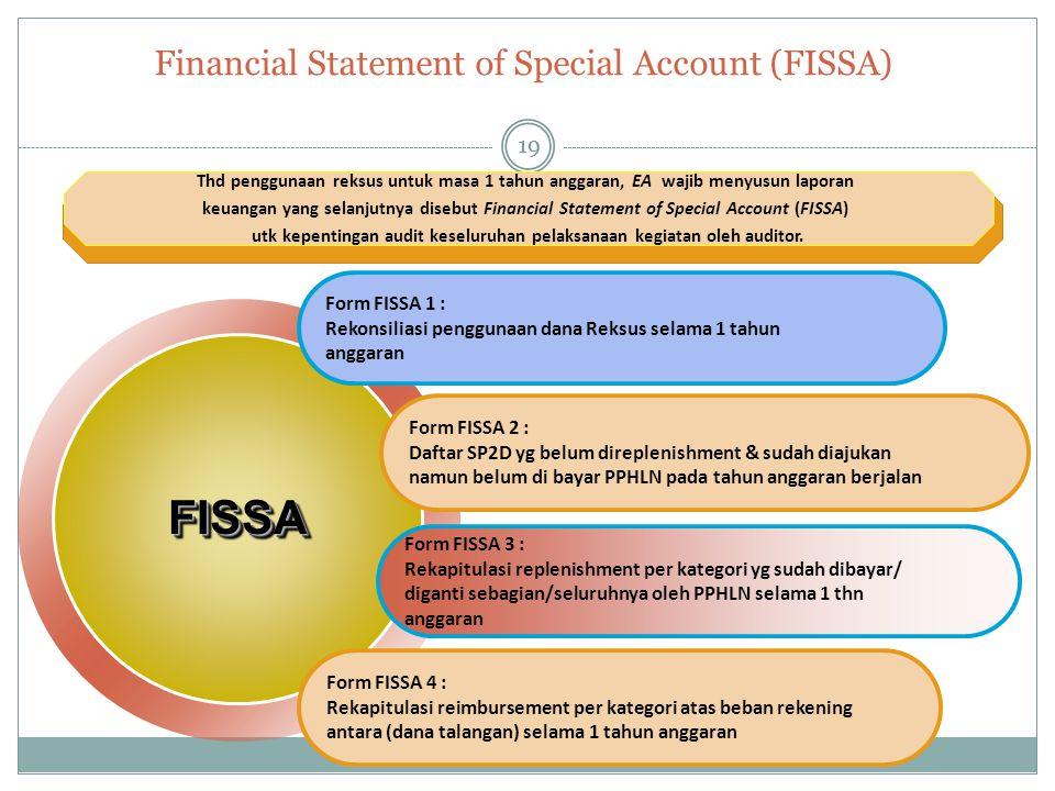 Financial Statement of Special Account (FISSA) Form FISSA 1 : Rekonsiliasi penggunaan dana Reksus selama 1 tahun anggaran Form FISSA 2 : Daftar SP2D y