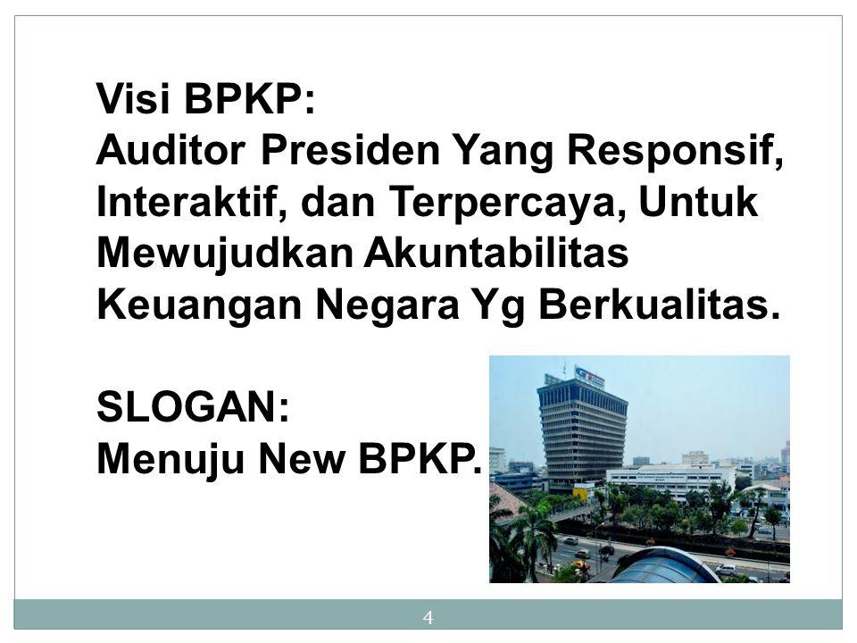 4 Visi BPKP: Auditor Presiden Yang Responsif, Interaktif, dan Terpercaya, Untuk Mewujudkan Akuntabilitas Keuangan Negara Yg Berkualitas. SLOGAN: Menuj