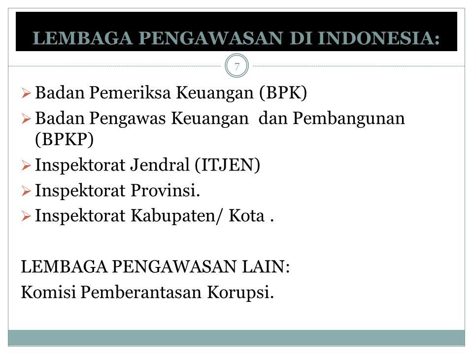 LEMBAGA PENGAWASAN DI INDONESIA:  Badan Pemeriksa Keuangan (BPK)  Badan Pengawas Keuangan dan Pembangunan (BPKP)  Inspektorat Jendral (ITJEN)  Ins